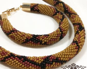 Snake Skin Jewelry Beaded Crochet Set Necklace and Bracelet. Brown Black. Beaded Rope. Gift for Her, for Mom, Original. Exclusive. Handmade.