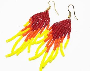 Flame fire earrings, long tassel fringe earrings, seed bead earrings, ethnic boho earrings, Native American Indian style, gift for her.