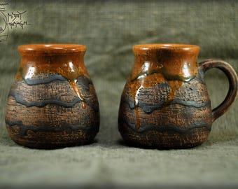 Scratched ceramic mug 450ml/15 fl oz, Stone pottery mug, coffee cup, Gift teacup, wheel thrown mug, warming gift, orange ceramics, big mug