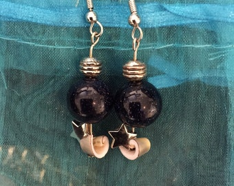 "Blue goldstone beaded earrings with seashells and stars! :D ""the astronauts"""