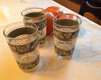 Vintage Green and White Juice Glasses Set of 3