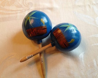 Vintage Pair of Mexican Blue Hand Painted Maracas