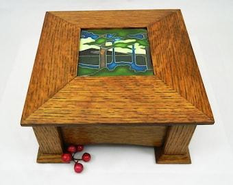 Motawi Tile Keepsake Box, Memory Box, Keepsake Box, Jewelry Box, Arts & Crafts Box, Heirloom