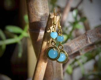 Elegant Brass African Earrings | Tribal Maasai Jewelry | short dangle beaded handcraft | handmade in Kenya