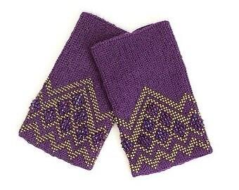Purple color beaded Wrist Warmers / Arm Warmers / Hand Warmers