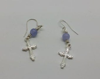 Silver Cross Earrings with Purple Alaxandrite Beads