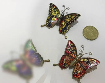 Vintage style enamel Butterfly PIN. 1980 butterfly brooch colorfull.