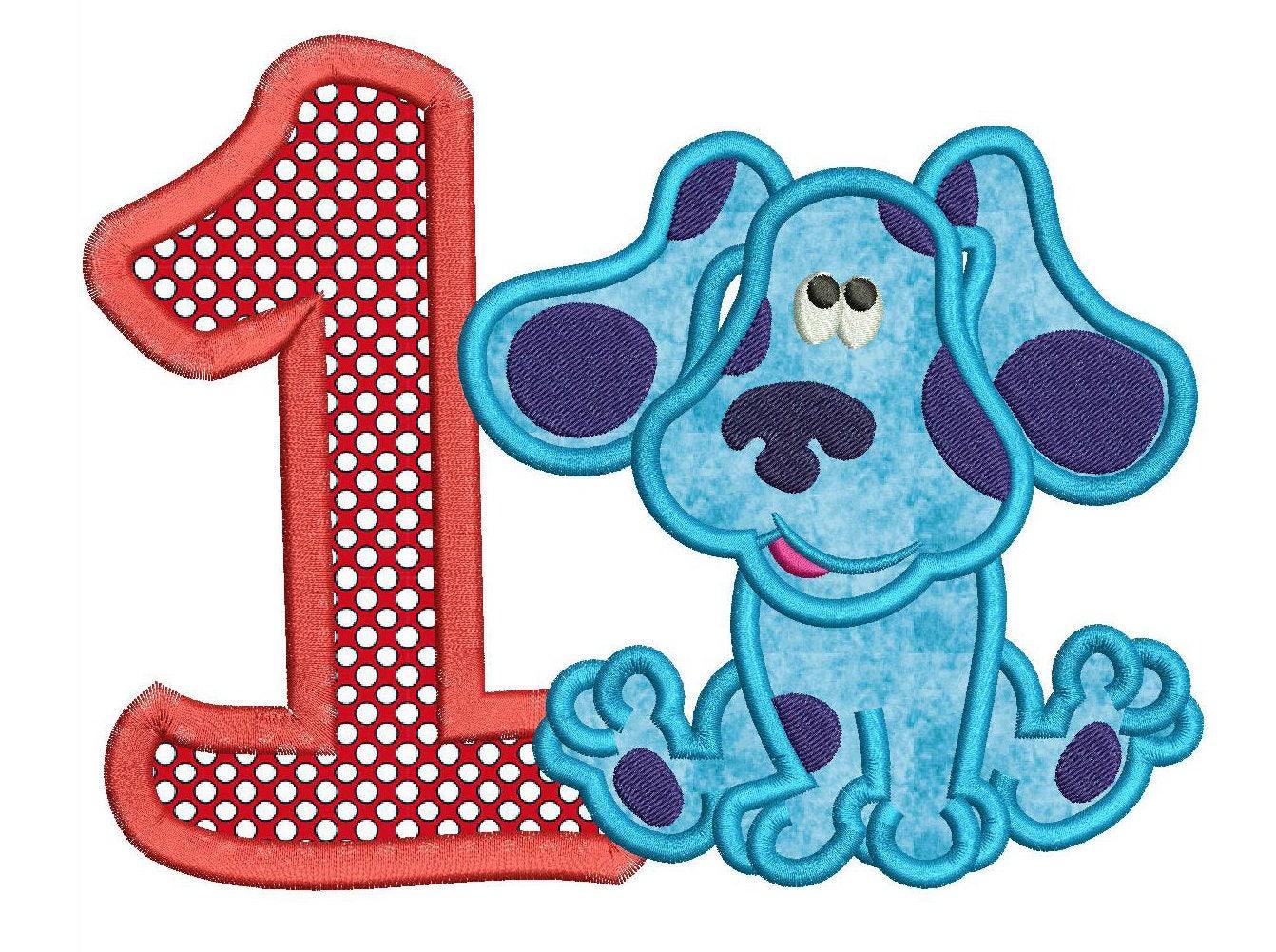blues clues 1st birthday applique design 3 sizes instant download