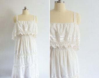 1970s Bohemian Moonlight cotton dress   vintage 70s cotton dress   vintage boho dress