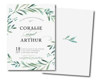 OLIVE BRANCH Invitation, greenery invitation,green wreath Printable DIY Invite,Affordable Invitation,summer herbs Tuscany wedding