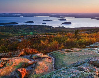 "Maine Wall Art - Fall Decor | ""Bar Harbor Sunrise"" 