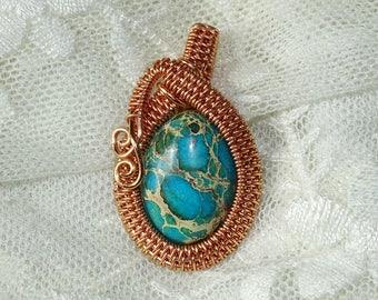 Copper pendant with regalite. Regalite pendant, elegant pendant, gemstone pendant