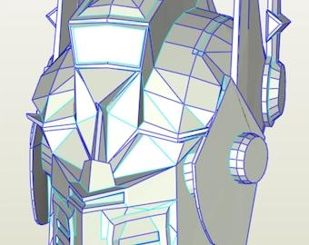 Transformers Optimus prime helmet blueprints of 3-D model for pepakura papercraft kit