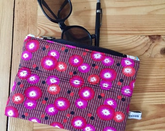 Cover fabric fushia, padded pouch cover makeup, Japanese fabric pouch, pouch poppy