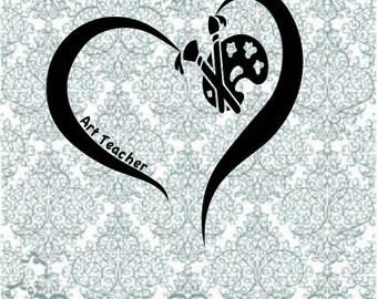 Art Teacher Heart SVG DXF PNG