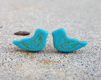 Blue Stone Sitting Bird Stud Earrings