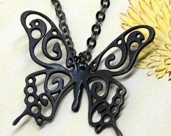 Black Swallowtail Pendant.  Black batterfly pendant