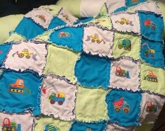 Custom made Boys trucks.dump trucks,bull dozer,fork lift,baby rag quilt,bumper pads,rag quilt,baby quilt,baby blanket,crib bedding,crib set