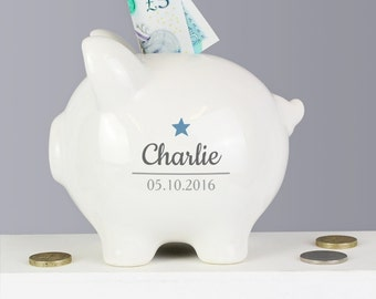 Personalised Childrens Piggy Money Box Blue, Pink, Boy, Girl, Name Date of Birth