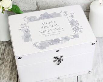 Personalised Soft Watercolour White Keepsake Box, Wedding, Memories, For Her