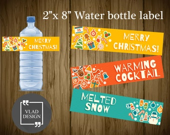 3 Cute Christmas Printable Water Bottle Labels Merry Christmas Party Water Bottle Labels Colorful Bottle Wrappers Winter elements label