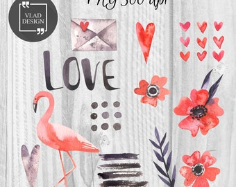 Watercolor Love Elements Valentine's Clipart Love Clipart Digital Wedding Elements Cute Love graphics Hearts clipart Romantic clip Flamingo