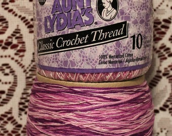 Aunt Lydia's ~ Machine Washable ~ Classic Cotton ~ Crochet Thread ~ Size 10 ~ Shades of Lilac ~ Perfect for Doilies Tablecloths Bedspreads ~