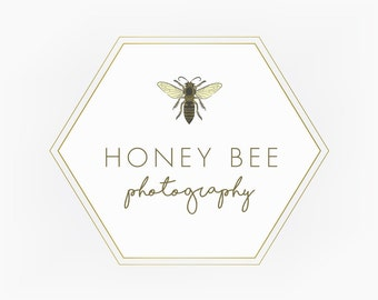 Premade Logo Design Graphic Design Branding Blog Design Etsy Shop Logo Hexagon Bee Honey Gold geometric Business Logo
