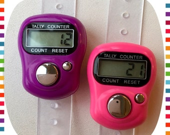 Digital Knitting Row-counter: LCD Tally Counter. 2 Pack (Pink & Purple)