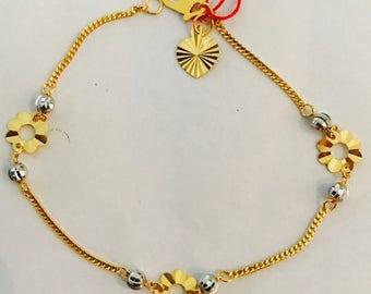22k solid 916 gold flowers bracelet bracelet