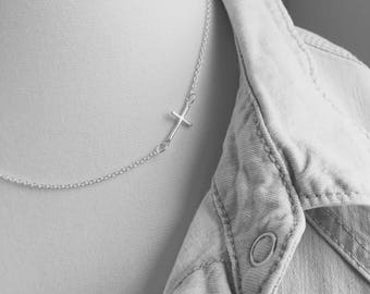Sideways Cross Necklace, Silver Sterling Silver Minimalist Jewelry, Long and Layered Necklace, Sideways Cross Choker, Graduation, Religious