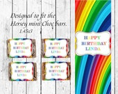 Rainbow Mini Candy Bar Wrappers - Birthday Mini Candy Bar Wrappers - Party Favors