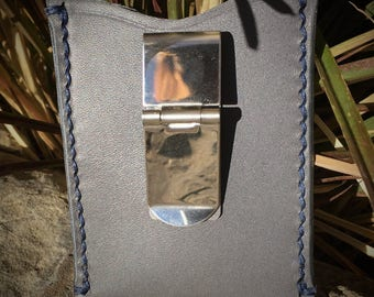 Grey Leather Card Wallet w/ Money Clip