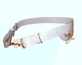 Ceremonial White Leather Patent Cross Belt - British Army - Uniform/Tunic Belt - E260