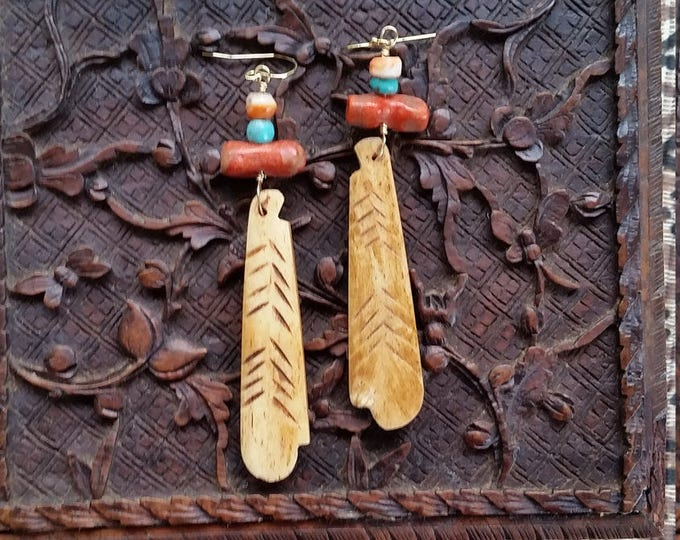 Bohemian Earrings Featuring Bone, Coral, Spiny Oyster and Turquoise