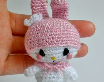 Pink Melody - amigurumi - crochet - plushies - keychain plushies