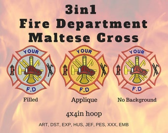 50% off on 3 in 1 - Fire Department's Maltese Cross Machine Embroidery Design for 4x4 hoop - Applique, Filled and Unfilled - Can be Resized.