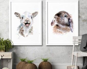 Lamb and Bunny nursery wall art Set of 2 art prints Watercolor painting Animal illustration children room kids home decor nursery home decor