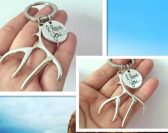 antlers & i love you keychain, antlers gifts key ring