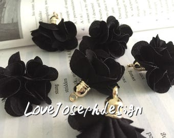 Set of 20 or 50pieces Black delicately layered chiffon fabric flower tassel --for length 30mm