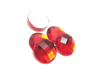 5pcs -KAWAII 18mm red gem cabochon faceted round circle gem resin embellishment light weight jewelry supply hair phone decoden *2BST4