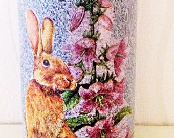 Hand decorated bunny/ floral bottle, hare, rabbit, easter, spring, flowers, home decor