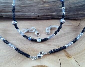 Glasses chain 2 in 1 black Crystal