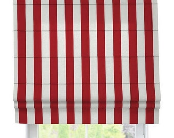 Roman shade - red/white striped