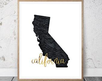 California Art Print, California Printable Art Print, Instant Download, California Wall Art, Travel Printable, California Art Print