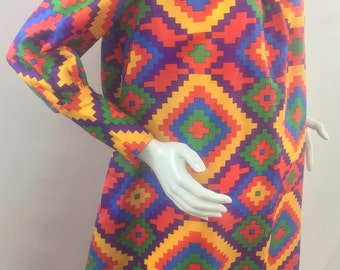 Vintage 1990s Handmade Tent Styled Dress with Vibrant Jewel Toned Bird's Eye Weave Print /Size 14-16