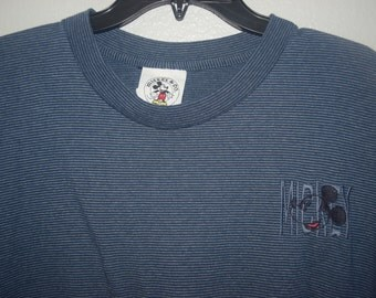 Vintage 80s Embroidered Mickey Mouse Navy Blue Striped T shirt, Size XL, Great Condition 9/10