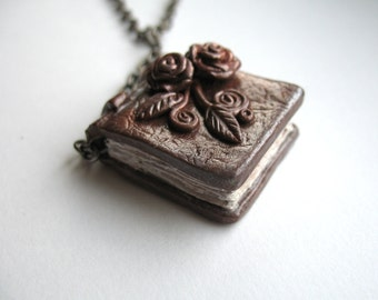 Miniature Book Pendant, Neo Victorian, Woodland, Fairytale, Literary Art Goth Steampunk Polymer Clay Leaves And Roses Art, Hand Painted OOAK