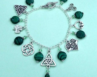 Celtic Charm Bracelet with faux Malachite Coins. Irish, Gaelic, Pagan, Shamrock, Triquetra, Claddagh