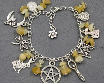 Pagan/Wiccan Sabbat Charm Bracelet - Ostara - with Aragonite Chips. Wicca, Witch, Spring, Fertility, Spring Equinox